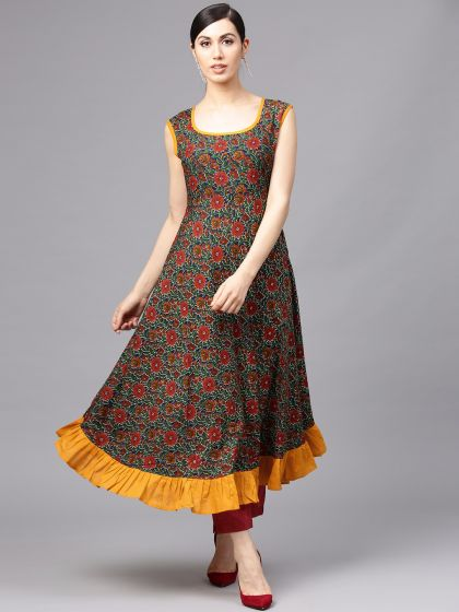 Blue & Red Floral Printed Sleeveless Anarkali