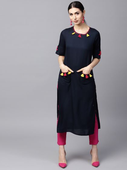 Navy blue Solid Kurta with tussel details