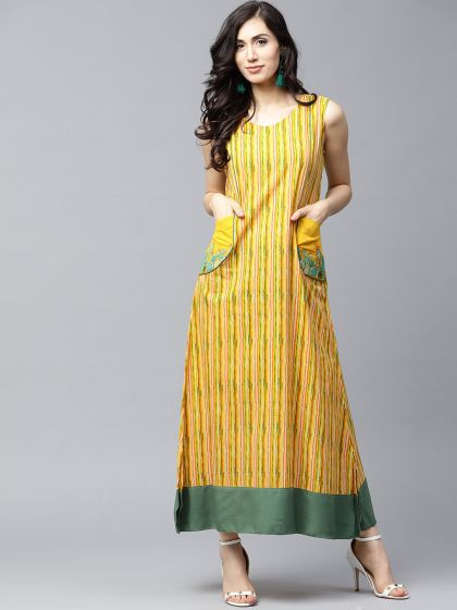 Yellow Printed A-Line Dress with Embroidery at pocket details