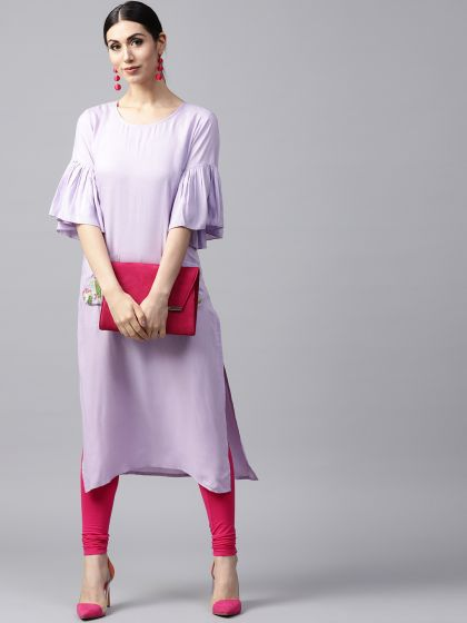 Lavender Solid Kurta With Embroidery at pocket details