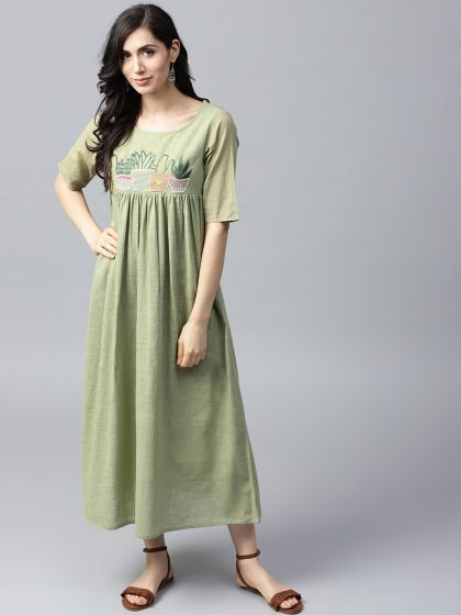 Pista Green Embroidered Pleated Dress