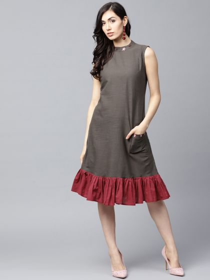 Grey Solid A-Line Dress with Ruffle hemline