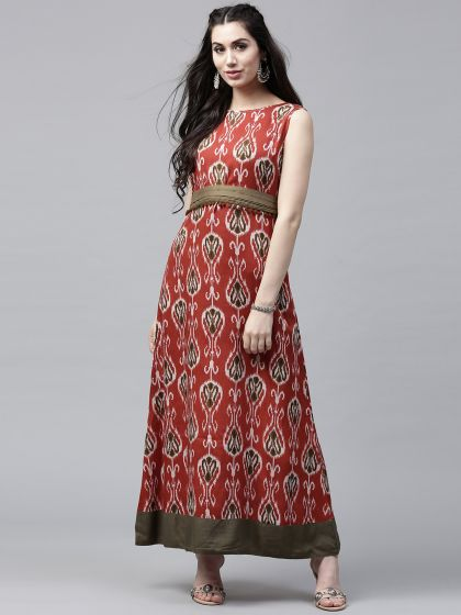 Red & olive Printed Sleeveless Maxi