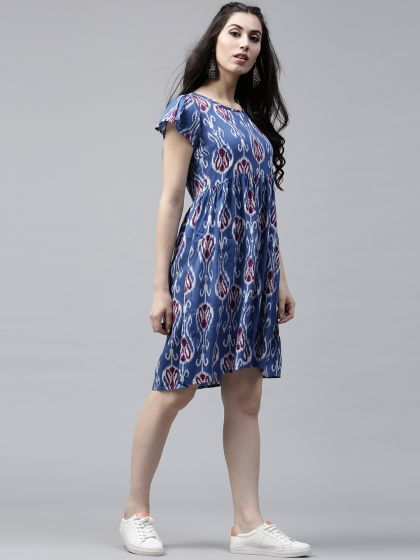 Blue & maroon Printed Skater Dress