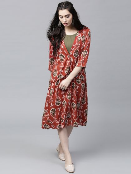 Red & olive Printed Dress with jacket
