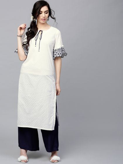 White Dobby woven kurta with Embroidered Sleeve