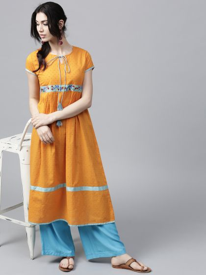 Mustard Dobby Woven A-Line Kurta With Embroidered details
