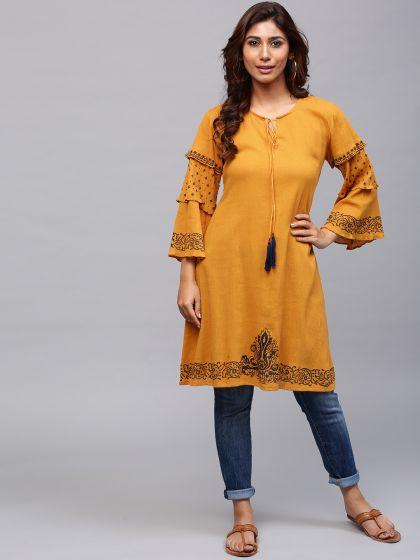Mustard hand block printed A-Line kurta With Flared Sleeve