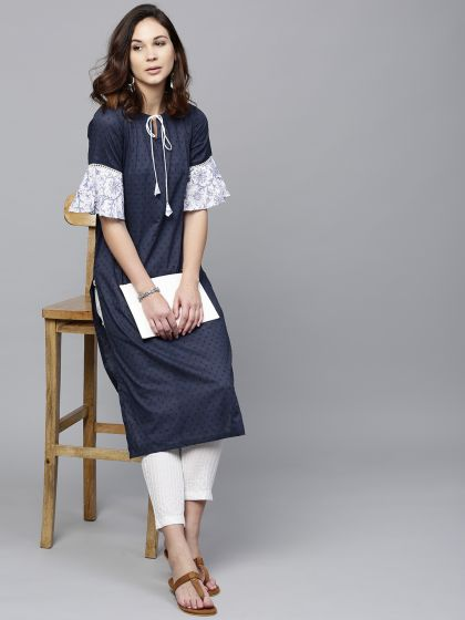 Navy blue dobby wove Straight Kurta With ruffle Sleeve