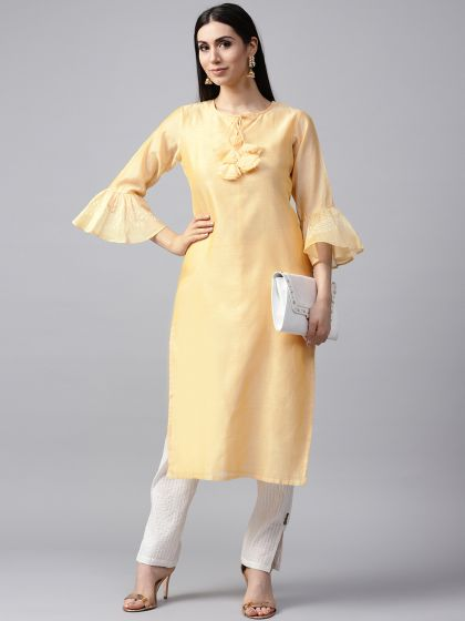 Yellow Solid Kurta With printed Sleeve details