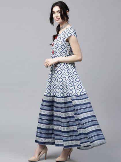 White & blue Printed Anarkali With Tussel Details