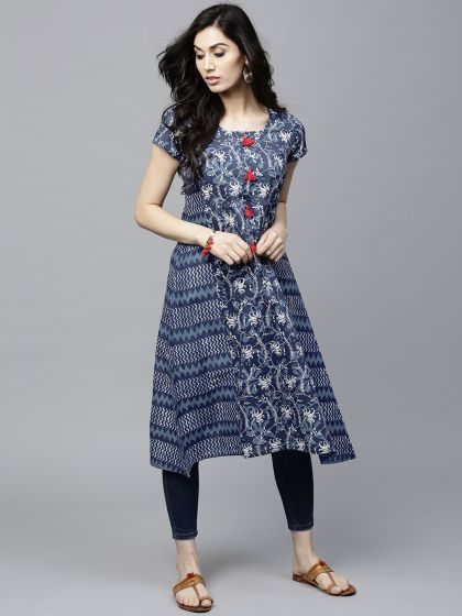 Blue Printed A-Line Kurta with tussel details