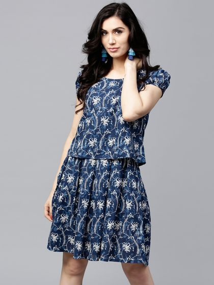 Blue Printed Layered Skater Dress