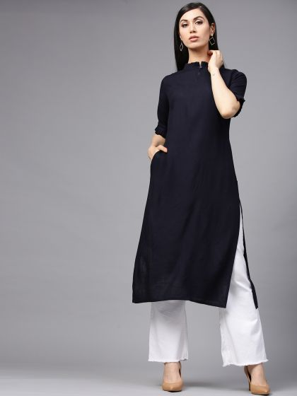 Navy Blue Solid Straight Kurta with pleated neck details