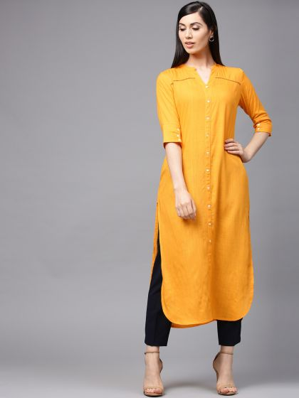 Mustard Solid Button down Kurta with ladder lace detail