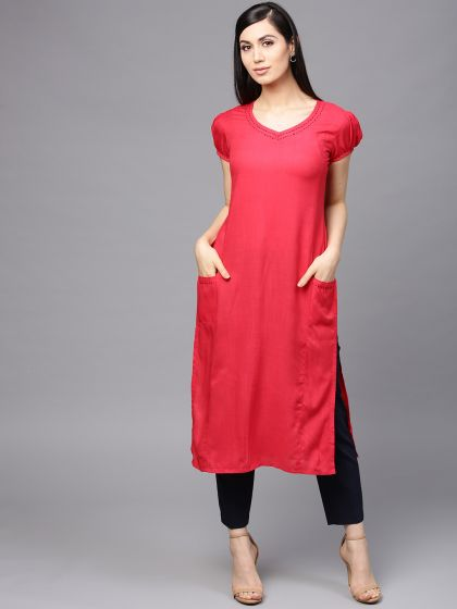 Coral Solid Straight Kurta with embroidery details