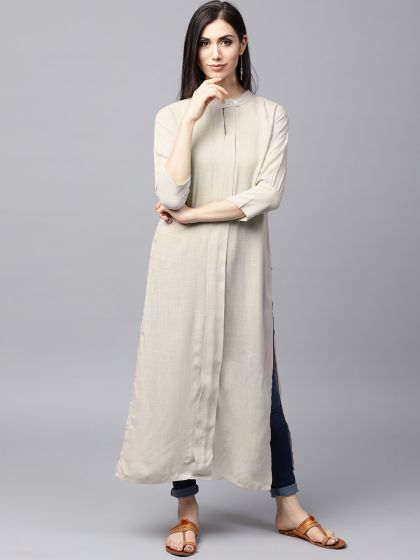 Beige Solid pleated Straight Kurta