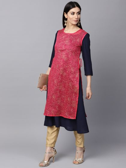 Magenta Gold Printed double layered Kurta With solid inner